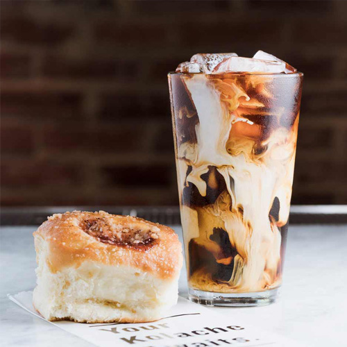 iced coffee and pastry